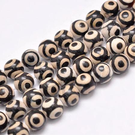 Natural Tibetan 3-Eye dZi Agate Beads StrandsG-F354-20A-1