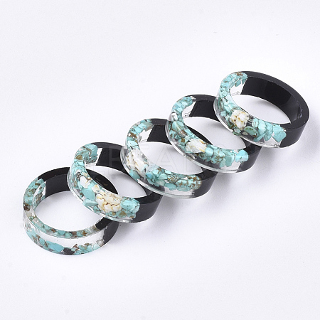 Epoxy Resin & Ebony Wood Rings RJEW-S043-08B-01-1