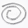 Trendy Men's 304 Stainless Steel Figaro Chain Necklaces and Bracelets Jewelry Sets SJEW-L186-03P-3