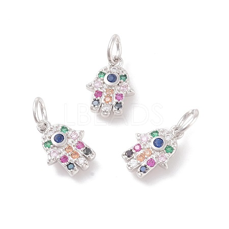 Brass Micro Pave Cubic Zirconia Charms ZIRC-F106-05P-1