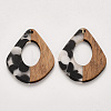 Transparent Resin & Walnut Wood PendantsRESI-S358-06-F01-1