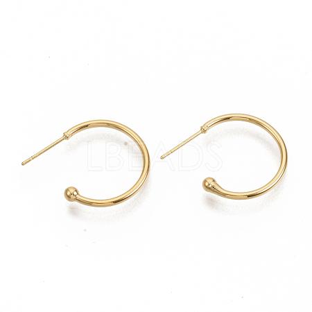 Brass Stud EarringsX-EJEW-T007-02G-NF-1