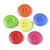 4-Hole Spray Painted Wooden ButtonsX-BUTT-T006-015-1