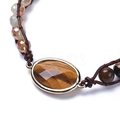 Three Loops Natural Tiger Eye Beads Wrap BraceletsBJEW-JB04247-02-1