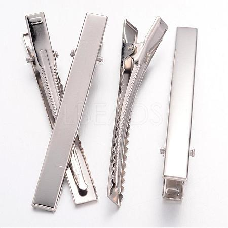 Platinum Plated Iron Flat Alligator Hair Clip Findings for DIY Hair Accessories MakingX-IFIN-S286-77mm-1