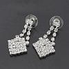 Fashionable Wedding Rhinestone Necklace and Stud Earring Jewelry SetsX-SJEW-S042-06-4