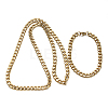 304 Stainless Steel Cuban Link Chain Necklaces and Bracelets Jewelry SetsSJEW-O065-B-04G-2