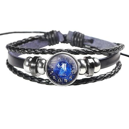 12 Constellation Leather Cord BraceletsBJEW-P240-E02-1
