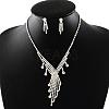 Fashionable Wedding Rhinestone Necklace and Stud Earring Jewelry SetsSJEW-R046-10-2