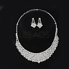 Fashionable Wedding Rhinestone Necklace and Stud Earring Jewelry SetsX-SJEW-S042-06-1