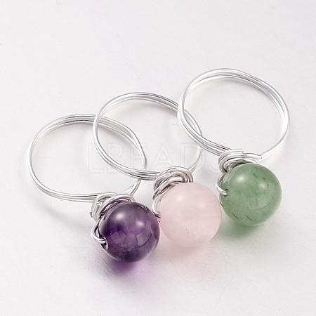 Natural Gemstone Beaded Finger RingsX-RJEW-JR00150-1