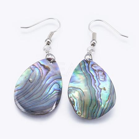 Abalone Shell/Paua ShellDangle EarringsEJEW-P148-03-1