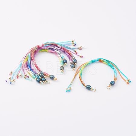 Segment Dyed Polyester Thread Braided Bead Bracelet MakingAJEW-JB00919-1