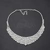 Fashionable Wedding Rhinestone Necklace and Stud Earring Jewelry SetsX-SJEW-S042-06-2