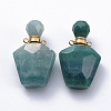 Faceted Natural Green Quartz Openable Perfume Bottle Pendants G-E564-09C-G-2