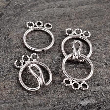 6-Hole Ring Sterling Silver S-Hook Clasps STER-K014-H793-3P-1