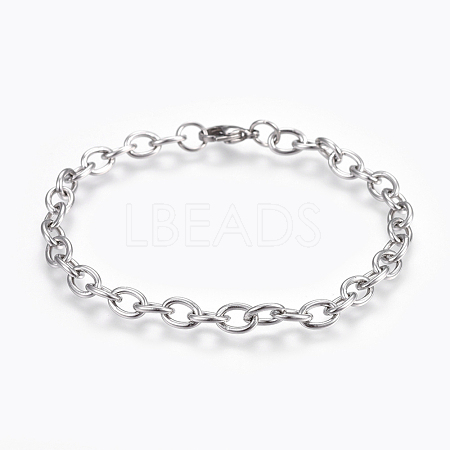 304 Stainless Steel Cable Chain BraceletsBJEW-P239-05-1