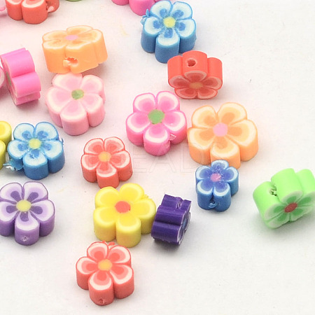 Handmade Polymer Clay Flower Plum Blossom BeadsX-CLAY-Q213-10mm-M-1