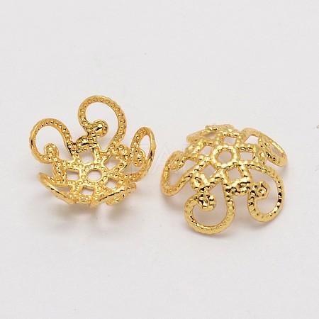 Flower Brass Bead CapsKK-P032-01-NR-1