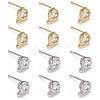 12Pcs 2 Colors Brass Cubic Zirconia Stud Earring FindingsKK-LS0001-14-1