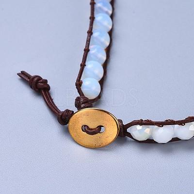Three Loops Opalite Beads Wrap BraceletsBJEW-JB04247-01-1