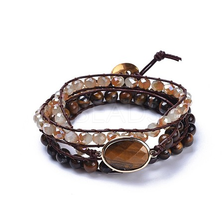 Three Loops Natural Tiger Eye Beads Wrap Bracelets BJEW-JB04247-02-1