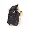 Edge Plated Natural Black Tourmaline Adjustable Finger RingsRJEW-E166-02-2