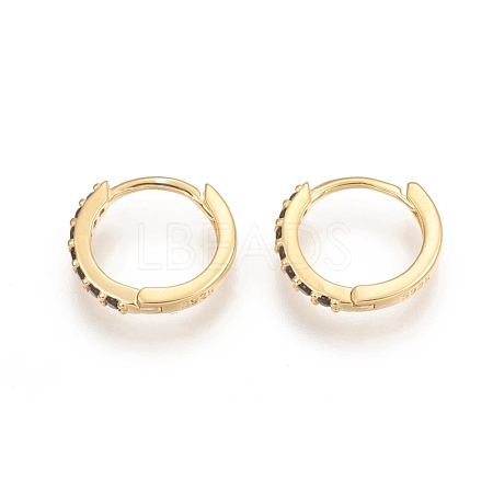 925 Sterling Silver Huggie Hoop EarringsSTER-D033-09G-1