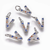 Brass Micro Pave Cubic Zirconia Charms ZIRC-L070-38V-P-1