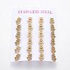304 Stainless Steel Stud EarringsEJEW-L227-040G-1