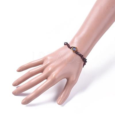 Chips Natural Garnet Stretch BraceletsBJEW-JB04700-04-1