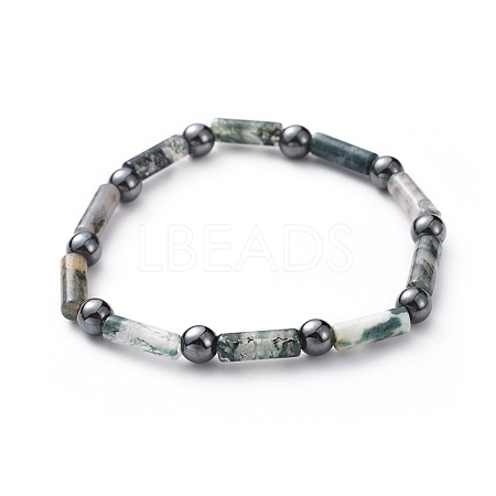 Natural Moss Agate & Non-Magnetic Synthetic Hematite Beads Stretch BraceletsBJEW-JB04691-01-1