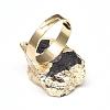 Edge Plated Natural Black Tourmaline Adjustable Finger RingsRJEW-E166-02-3
