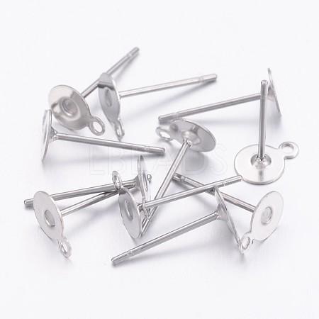 304 Stainless Steel Stud Earring SettingsSTAS-N036-03B-1