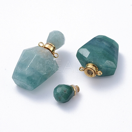 Faceted Natural Green Quartz Openable Perfume Bottle Pendants G-E564-09C-G-1